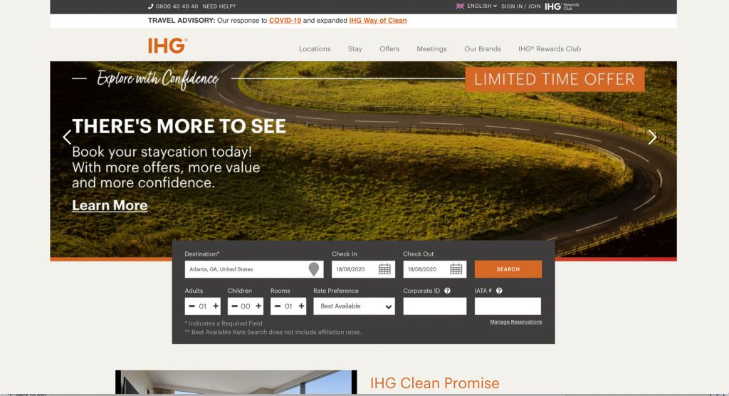 InterContinental Hotel Group Search Page Concept