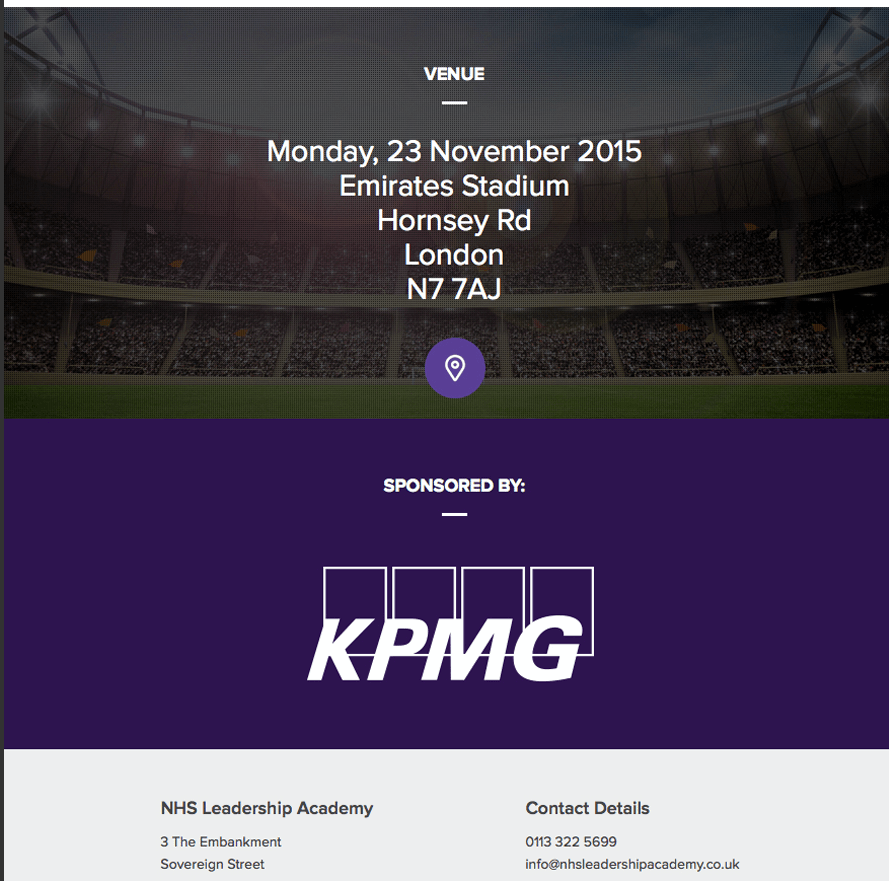 KPMG and NHS Leadership Academy email marketing templates