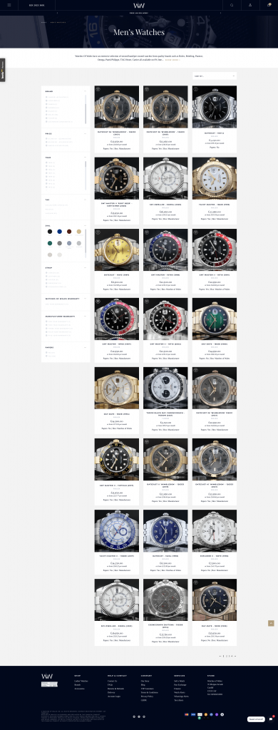 Watches Of Wales Category Filter UI
